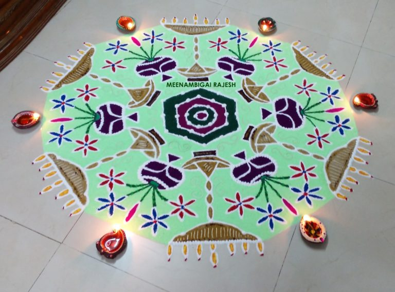 Flashing flowervases || 25 dots Contest Kolam
