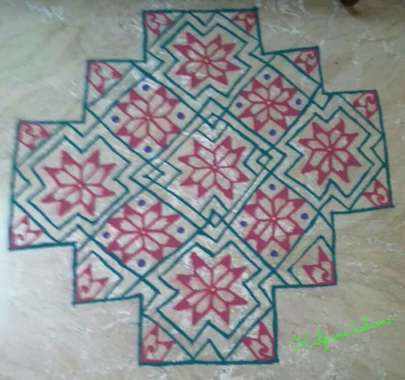 Line kolam with 25 dots || Big kolam with colours