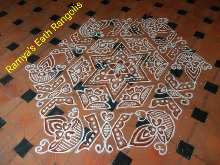 25 dot contest kolam || Butterfly and Diya Rangoli