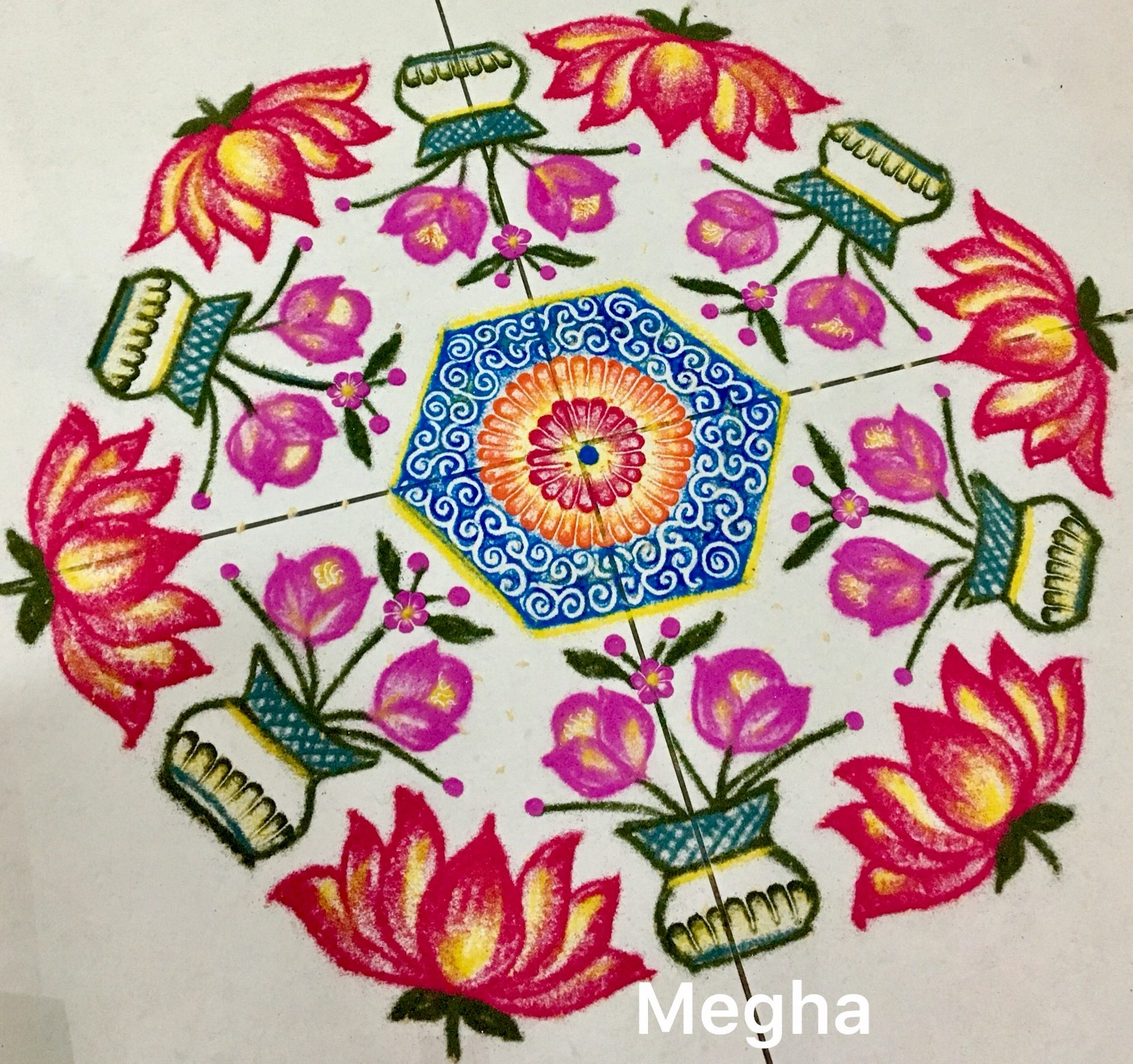 25 dots lotus flower kolam || contest Kolam