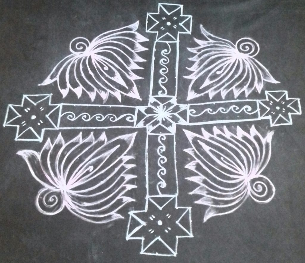 Lotus Flower kolam with 25 dots for contest