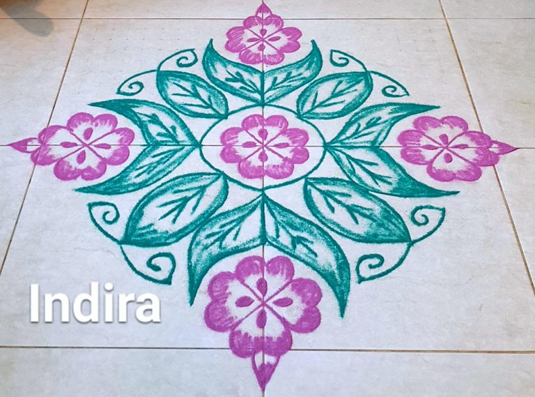 25 dots Flower and leaves Kolam || contest kolam