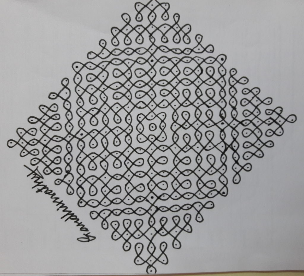 25 dots Sikku Kolam for Contest kolam 17