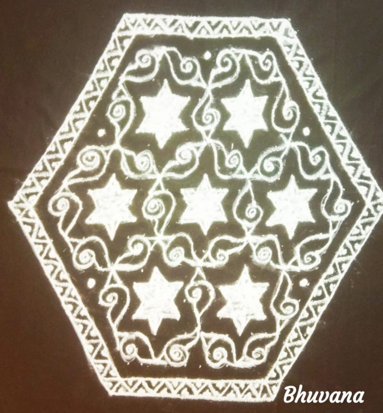 25 dots flower kolam    Star and conch Kolam for contest