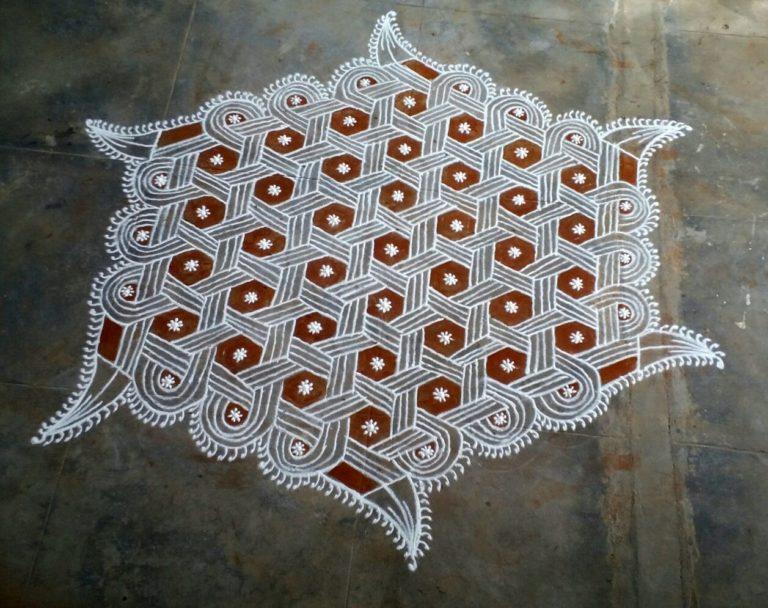 25 dots star as line pattern kolam    Contest Kolam