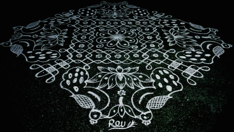 25 dots Peacock kolam || Fusion kolam for contest