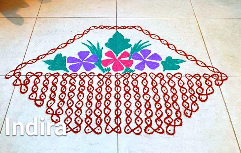 Flower Basket kolam || 25 dots Flower Sikku kOlam for contest